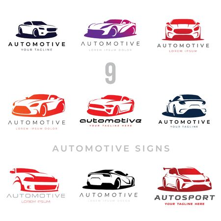Illustration for Set of 9 automotive car illustration signs for your projects - Royalty Free Image