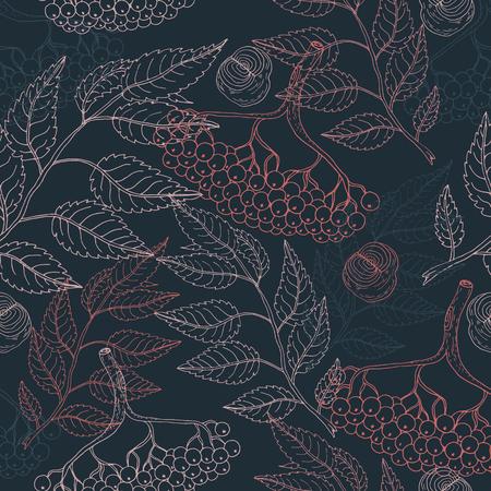 Illustration pour Cute colorful floral viburnum seamless pattern on blue background for fabric, textile, texture, wrapping paper, wallpaper, cards, web design. Hand drawn illustration - image libre de droit