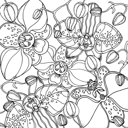 Illustration pour Doodle floral background in vector with doodles black and white coloring page. Vector ethnic pattern can be used for wallpaper, pattern fills, coloring books and pages for kids and adults. - image libre de droit