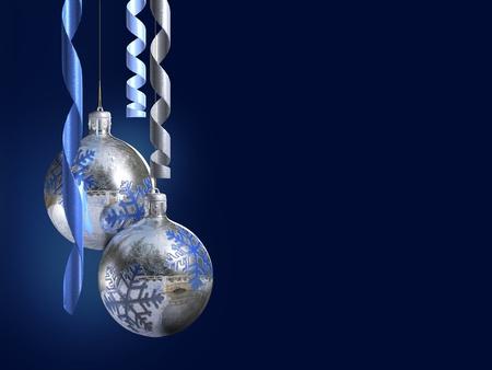 Photo pour Elegant decorative isolated christmas baubles on dark blue background. - image libre de droit