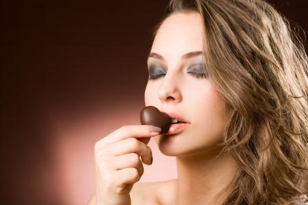 Portrait of a sensual brunette chocolate girl.