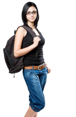 Portriat of a fun young student girl with backpack.
