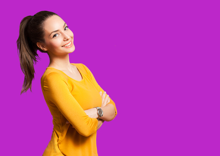 Photo for Portrait of an expressive brunette isolated on colorful background. - Royalty Free Image