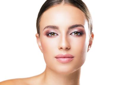 Photo for Studio portrait of brunette beauty in feminine makeup. - Royalty Free Image