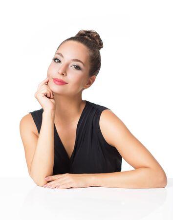 Foto de Portrait of a gorgeous brunette in elegant makeup. - Imagen libre de derechos