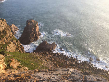 Cliffs over the Atlantic ocean. The westernmost point in the Europe continent. Cabo de Roca, Portugal.