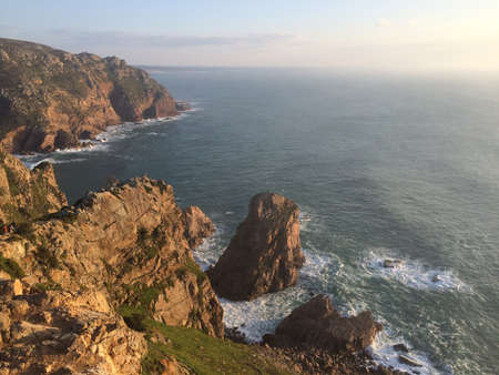 Cliffs over the Atlantic ocean. The westernmost point in the Europe continent. Cabo de Roca, Portugal