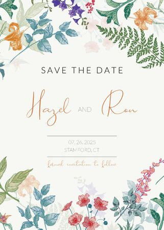 Illustration pour Botanical wedding invitation template with hand drawn herbs and flowers. Colored Save the Date card template in vintage style - image libre de droit
