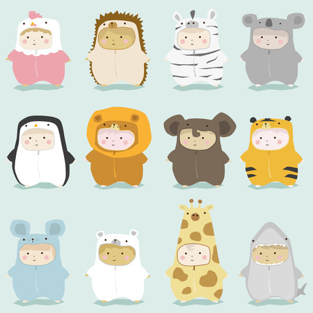 Illustration pour Set of kids in cute animal costumes 2 , vector , illustration - image libre de droit