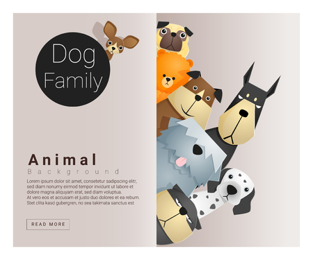 Ilustración de Cute animal family background with Dogs, vector , illustration - Imagen libre de derechos