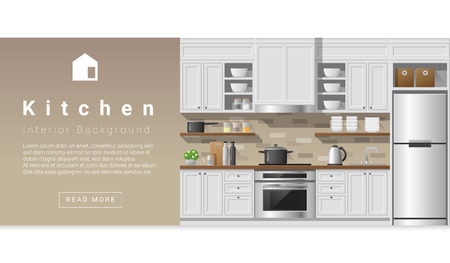 Interior design Modern kitchen background , vector, illustration
