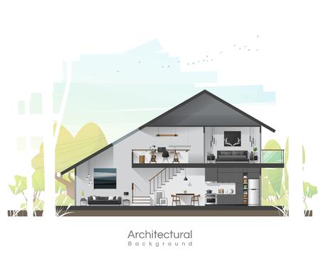 Illustration pour House cross section with furniture and peaceful landscape background , vector , illustration - image libre de droit