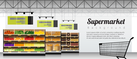 Illustration pour Modern supermarket with products and shopping cart background , vector , illustration - image libre de droit