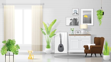 Illustration pour Warm and bright living room background with furniture in modern rustic style , vector , illustration - image libre de droit