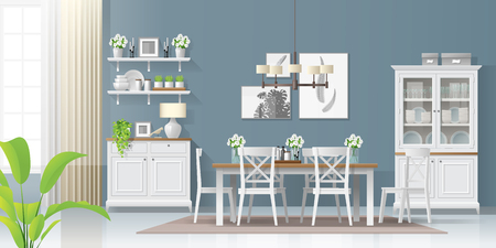 Illustration pour Interior background with dining room in modern rustic style , vector , illustration - image libre de droit