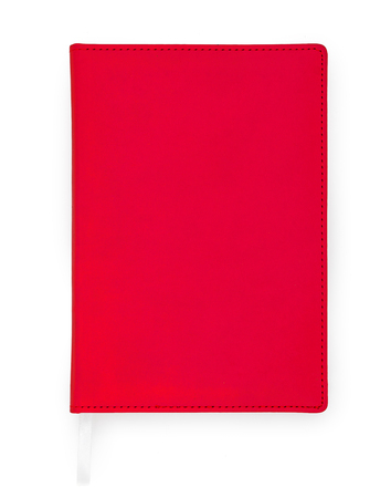 Photo for Red closed book, notebook, diary isolated on white background - Royalty Free Image