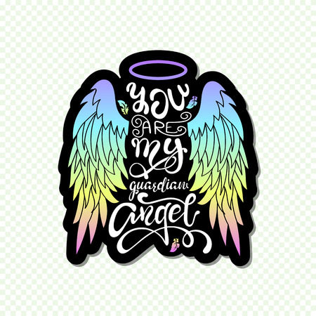 Illustration pour You are My Guardian Angel! Isolated Lettering. Cartoon angel wings with a halo and calligraphic message. Hand Written Unique Typography Design. - image libre de droit