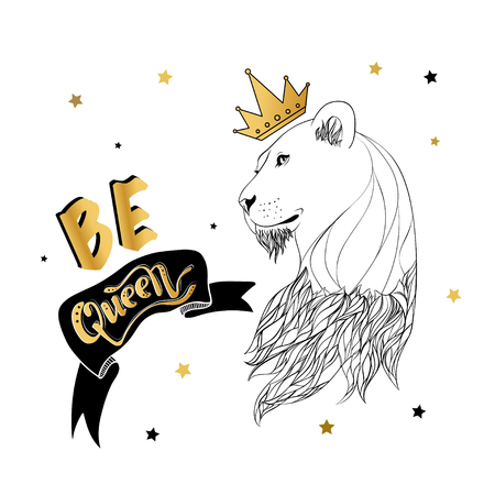 Illustration for Lioness in the crown with a slogan print vector - Royalty Free Image