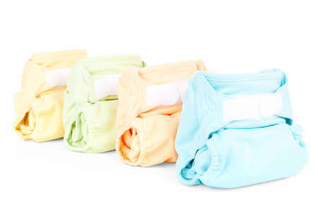 Photo pour four colorful nappies isolated on white background - image libre de droit