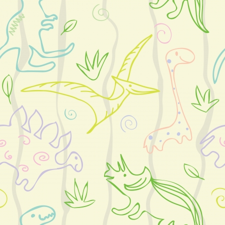 Adorable Sketch Dinosaur Pattern Wallpaper