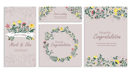 Illustration pour Set of greeting card wirh floral decor. Heartily congratulation, wedding Invitation, floral invite, decorative wreath & frame pattern. Cards save your date card with an elegant garden plant - image libre de droit