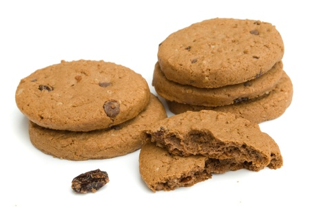 pile of chocolate cookies isolated on white background