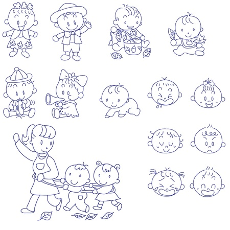 Photo pour hand drawn doodle sketch of babies and mother - image libre de droit