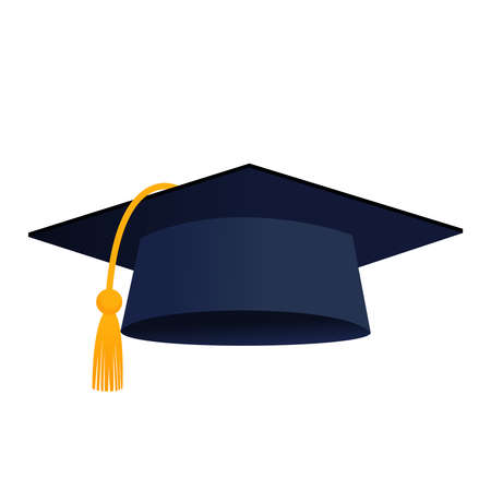 Illustration for Graduation cap hat isolated vector icon - Royalty Free Image