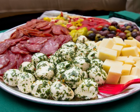 An image of a platter of Italian antipasto.