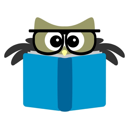 Funny owl reading a book