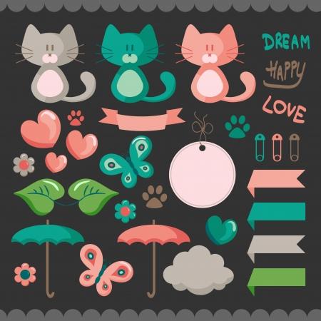 Ilustración de Sweet scrapbook elements set - Imagen libre de derechos