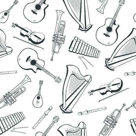 Seamless pattern with musical instruments: acoustic guitar, harp, mandolin, xylophone, trumpet, flute, violin