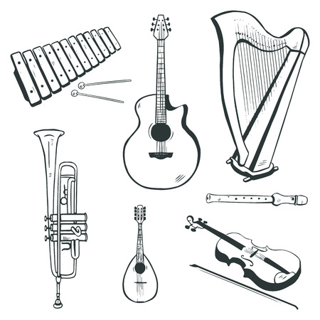 Set of vector musical instruments  acoustic guitar, harp, mandolin, xylophone, trumpet, flute, violin