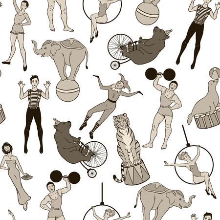 Seamless pattern vintage circus theme, performers and animals