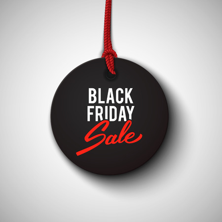 Ilustración de Black Friday sale black tag, round banner, advertising, vector illustration - Imagen libre de derechos