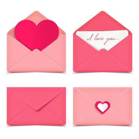 Illustration pour Set of four pink Valentine romantic vector envelopes isolated on white - image libre de droit