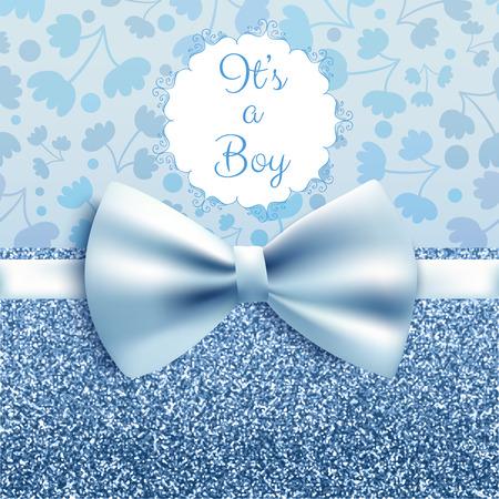 Ilustración de It's a boy baby shower cute card invitation with blue bow, vector illustration - Imagen libre de derechos
