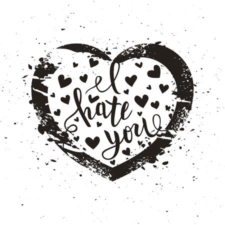 Illustration pour I hate you love you heart funny romantic calligraphy lettering, t-shirt, poster print, vector illustration - image libre de droit