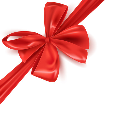 Illustration pour Realistic red ribbon bow isolated, vector illustration - image libre de droit