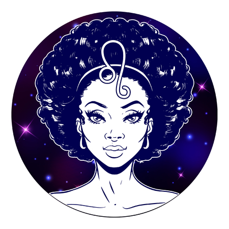 Ilustración de Leo zodiac sign artwork, beautiful girl face, horoscope symbol, star sign, vector illustration - Imagen libre de derechos