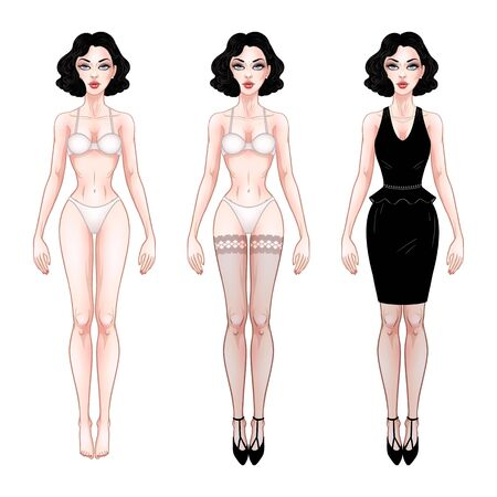 Ilustración de Beautiful young woman, dress up paper doll template, lingerie and evening dress, brunette girl model, vector illustration - Imagen libre de derechos