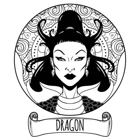 Illustration pour Dragon Chinese zodiac sign artwork as beautiful girl, adult coloring book page, vector illustration - image libre de droit