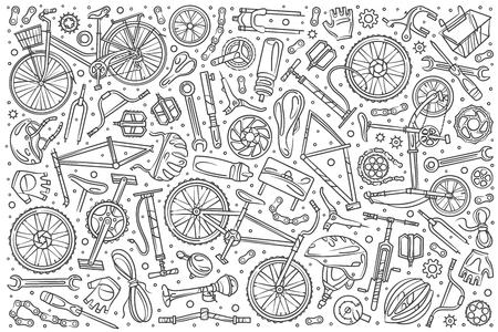 Ilustración de Hand drawn bicycle mechanic set doodle vector illustration background - Imagen libre de derechos