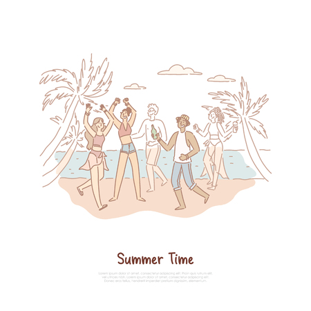 Happy teenagers dancing on shore, young people having fun, musical recreation on tropical island, exotic vacation banner. Summer party on beach concept cartoon sketch. Flat vector illustration