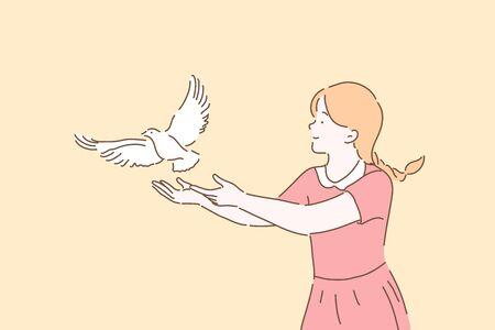 Ilustración de Peace symbol, freedom metaphor concept - Imagen libre de derechos