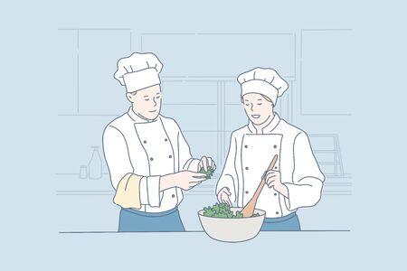Teamwork, cooking, restaurant, food concept