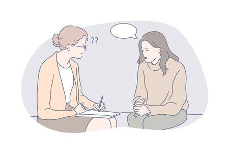 Illustration pour Psychology, communication, depression, speech bubble, therapy concept - image libre de droit