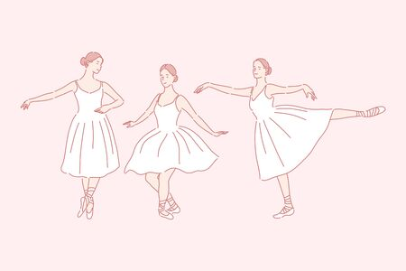 Dancing, ballet, teaching set concept
