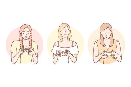 Gamer, playing, addiction set concept