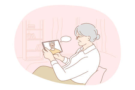Illustration for Online communication, chat, modern technologies concept. Senior elderly woman cartoon character sitting at home with tablet and communicating with son or husband online vector illustration - Royalty Free Image